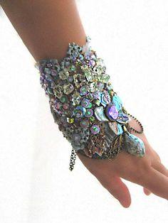 Mermaid Gypsy Bracelet, Aquamarine, Labradorite, Paua, Crystal, Beaded, Lace, Blue, Lilac, Bohemian