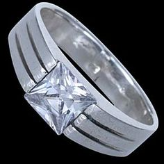 Silver ring, CZ, Silver ring, Ag 925/1000 - sterling silver. With stone (CZ - cubic zirconia). Design width approx. 6mm.