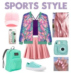 """Sports style   ⚾🏓🎾⚾🏸⚽🏑🏀🏏⛳🎾"" by paraskevi1911 on Polyvore featuring Lorna Jane, adidas Originals, Converse, JanSport, Casetify, Fujifilm and Essie"