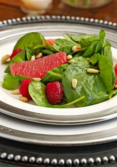 Grapefruit-Spinach Salad with Raspberries and Champagne Vinaigrette. Soups and Salads Perfect for Summer - Traditional Home®