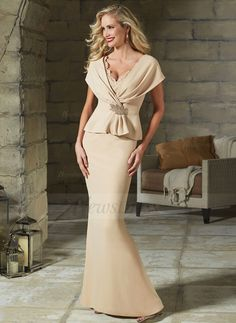 Sheath/Column V-neck Floor-Length Lace Beading Crystal Brooch Satin Zipper Up Sleeveless Yes 2015 Champagne Spring Fall General Mother of the Bride Dress