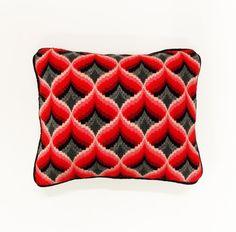 """Retro Geometric Design Pillow--- Bargello Stitch--- Heart Shape Motif--- Modern """"Op-Art"""" Design"""