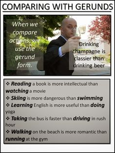 COMPARING WITH GERUNDS English Grammar Test, English Verbs, English Fun, Learn English Words, English Phrases, English Language Learning, English Writing, English Study, English Lessons