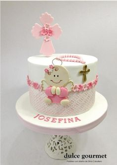 Baptism cake for little Josefina by Silvia Caballero Cake Icing, Cupcake Cakes, First Communion Cakes, Baptism Cakes, Baby Girl Birthday Cake, Religious Cakes, Almond Cakes, Cakes For Boys, Girl Cakes
