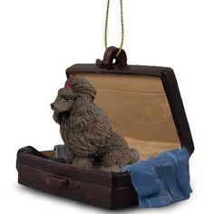 Elegant Hand Painted Chocolate Poodle Traveling Companion Crafted in a Suitcase