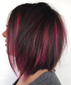 Dark Brown Hair With Magenta Highlights
