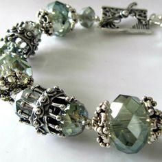 Crystal beaded bracelet, sea green crystals, white bronze beads, beaded jewelry, Sea Mist. $85.00, via Etsy.