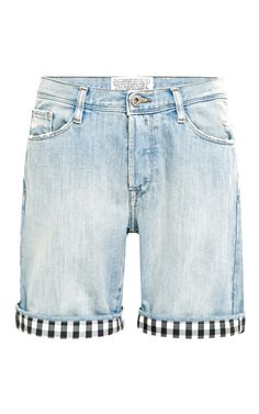 Shop Gingham-Trimmed Denim Shorts by Each X Other Now Available on Moda Operandi