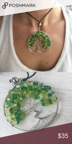 Gorgeous unique trunk tree of life wire wrap Gorgeous new design for festival season 2017! Beautiful handcrafted rock chips strung from hand wrapped copper wire to form our new tree of life design in a unique style. Sliding bead from hemp makes this piece adjustable and perfect for layering. A beautiful festival bohemian piece! handmade Jewelry Necklaces