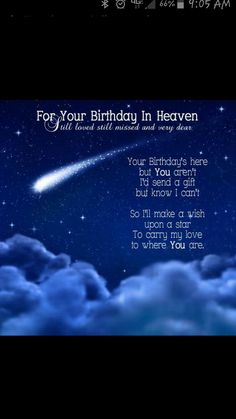 For Your Birthday In Heaven Happy Birthday In Heaven, Happy Birthday Vintage, Happy Birthday For Him, Happy Birthday Daughter, 18th Birthday Cards, Birthday Cards For Him, Happy Birthday Pictures, Brother Birthday Quotes, Happy Birthday Quotes