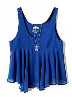 Dark Blue Sleeveless Ruffles Chiffon Vest - Sheinside.com