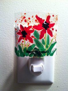 Red Flower Garden Fused Glass Little Light  Night Light by Marusca, $27.00