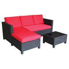 Ensemble sofa modulaire pour patio, rouge/noir, 3 morceaux
