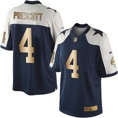 Nike Dallas Cowboys Men's #4 Dak Prescott Limited Navy/Gold Alternate Throwback NFL Jersey