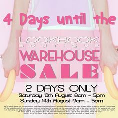 It's what you have all been waiting for! You have heard us talk about this ALL the bloody time!  BUT it's time for our WAREHOUSE SALE!  Where: Lookbook Boutique - 14/586 Dean Street ALBURY  When: 13th & 14th of August  Saturday 8am - 5pm  Sunday 9am - 5pm  Prices start at $10 - NOTHING over $100  Please note that all current season stock will be temporarily removed for the sale  Labels include:  Bec & Bridge  Alice McCall  Maurie & Eve  C/MEO COLLECTIVE  Finders Keepers the Label  Senso…