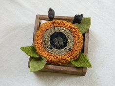 Sunflower PUNCH NEEDLE PATTERN for Simple Wood Pincushion Base - from Notforgotten Farm via Etsy