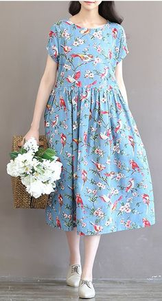 Women loose fit plus over size flower birds garden dress skater skirt sweet  #unbranded