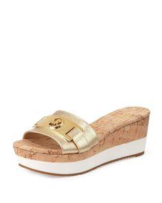 New Michael Kors Warren Platform Wedge Slide Sandals Pale Gold Size 8.5M* #MichaelKors #PlatformsWedges