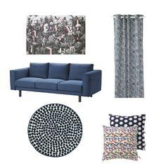 Product collage - ART EVENT 2017 poster, NORSBORG sofa, NUNNERÖRT curtains, FLÖNG rug, SOMMAR 2017 cushion cover