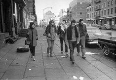 Carla Rotolo, Suze Rotolo, Karen Dalton, Bob Dylan and Dave Van Ronk walking down Hudson street 1963