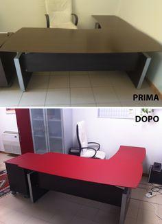 Riqualificazione scrivania con pellicola adesiva.  Prodotto utilizzato: 3M™ DI-NOC™ Wrapping, Wraps, Bench, Storage, Furniture, Home Decor, Purse Storage, Decoration Home, Room Decor