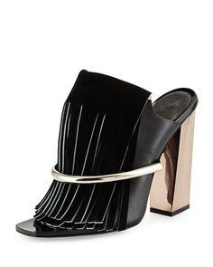#FallTrend: Fringe Neiman Marcus Leather #Fringe Banded Mule, http://www.shopstyle.com/action/loadRetailerProductPage?id=469208251&pid=uid400-25860520-27&utm_content=bufferef2fb&utm_medium=social&utm_source=pinterest.com&utm_campaign=buffer