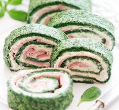 Spinach Rolls, No Cook Appetizers, Ham, Cucumber, Watermelon, Healthy Recipes, Healthy Food, Vegetables, Fruit