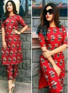 Praiseworthy Banglory satin silk Red Party Wear Semi-Stitched Kurti With Unstitched Bottom Fabric Latest Kurti Design LATEST KURTI DESIGN | IN.PINTEREST.COM FASHION EDUCRATSWEB