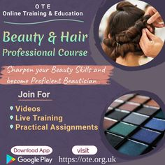 Becoming proficient Beautician is no more difficult task now. Enrol for certified Hair and Beauty Course offered by OTE - Online Training & Education and sharpens your beauty skills easily by attending video lectures, live training sessions and practical assignments. Hair And Beauty Courses, Course Offering, Hair Beauty, Education, Training, Live, Work Outs, Excercise, Onderwijs