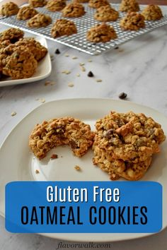 Gluten Free Oatmeal Cookies with chocolate chips and peanut butter are hard to resist. They're crunchy on the outside, chewy in the middle, and have just the right amount of sweetness! Gluten Free Oatmeal Cookie Recipe, Best Gluten Free Cookies, Gluten Free Cookie Recipes, Gluten Free Sweets, Gluten Free Cakes, Oatmeal Cookies, Baking Recipes, Snack Recipes, Oats Recipes