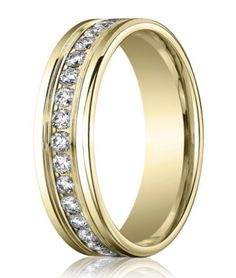 Channel Set Diamond Eternity Ring for Men in 14K Yellow Gold - For those seeking a classic diamond eternity band, a vision of perfection. This designer 14K yellow gold wedding ring for men has a shining polished finish, 36 channel set round diamonds (0.72 ctw) and rounded edges. A 4mm comfort fit band ensures lasting ease of wear. To learn more visit - http://www.justmensrings.com/Channel-Set-Diamond-Eternity-Ring-for-Men-in-14K-Yellow-Gold-4mm_p_1414.html