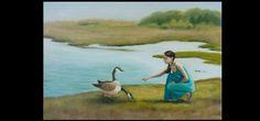 """Feeding the Geese"" Oil on Canvas #Figurepainting #art #Painting #landcape #oilpainting"