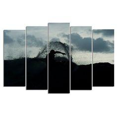 Ready2HangArt Surf Silhouette Canvas Wall Art - 5 pc. Set - NL7011-GWC5PC