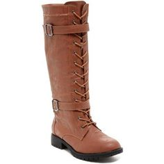 Carrini CA Collection Women's Fashion Double Buckle Lace-Up Boots, Size: 7, Brown