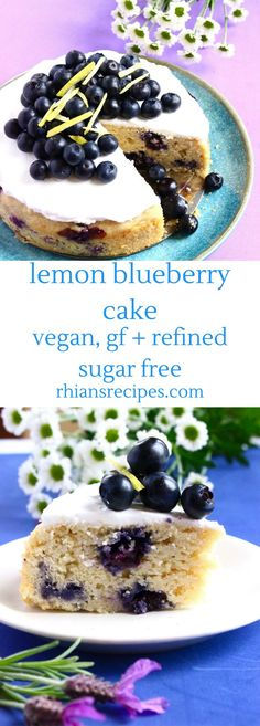 This Lemon Blueberry Cake is easy to make, and topped off with a delicious cream cheese frosting. Vegan, gf and refined sugar free