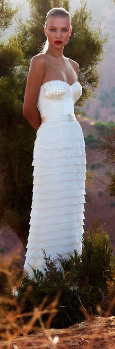 Strapless Layered Silk Wedding Dress