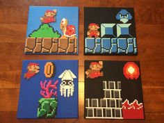 Super Mario scenes perler beads on canvas by GrinderJeremy Perler Bead Designs, Hama Beads Patterns, Beading Patterns, Fuse Beads, Perler Beads, Animation Pixel, Pixel Art, Yoshi, Hama Art
