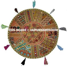 On Sale Big Round Floor Pillow Cushion Vintage Patchwork Bean Bag Indian Embroidered Pouf Ottoman Antique Day Dog Bed Outdoor Seating Large Floor Cushions, Round Floor Pillow, Round Pillow, Handmade Cushions, Decorative Cushions, Ikea Pouf, Patchwork Pillow, Embroidered Pillows, Meditation Cushion