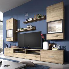 Ensemble meuble TV couleur bois et gris moderne IRINA