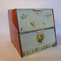 Vintage Double Door Metal Bread Box - Rooster Flowers  Ours was plaid I think