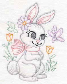 Playful Bunny (Vintage) design (M10746) from www.Emblibrary.com
