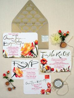 watercolor flower custom painted and designed wedding invitation suite