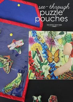 If you're looking for a way to store wooden puzzles so the peices don't come out, try these see-through puzzle pouches!