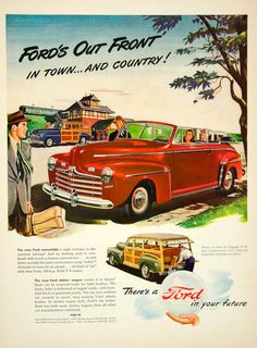 1946 Ad Ford Station Wagon Classic Car Automobile Convertible Wood Siding CARS - Period Paper