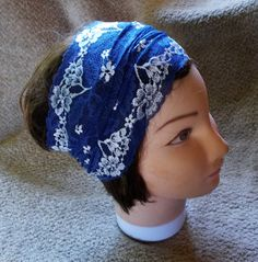 DENIM BLUE Stretch Lace Wide HEADBAND Womens Teen Hairband by silcoon52 on Etsy