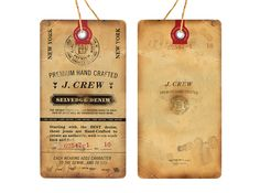 J. Crew Selvedge Denim Shirt Label, Label Tag, Custom Hang Tags, Swing Tags, Vintage Air, Label Design, Package Design, Clothing Tags, Old Paper