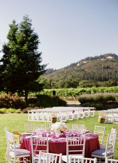 White & raspberry pink wedding & reception at St Francis Winery, Sonoma Valley Wine Country.  Photo: Tanja Lippert  Floral Design by Fleurs de France.  www.fleursfrance.com
