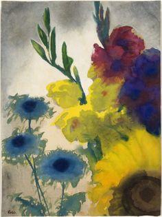 Emil Nolde (German, 1867-1956) - Flowers, 1930-35 - Watercolour on paper