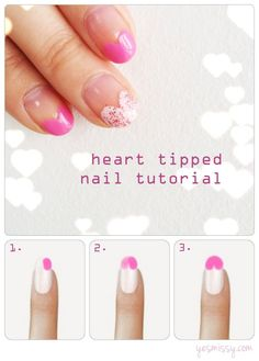 Heart Tipped Nail Art Tutorial