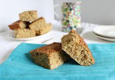 High Protein Cinnamon Cake Bars Recipe Desserts with oat flour, buckwheat flour, vanilla whey protein powder, baking powder, salt, turbinado, cinnamon, eggs, almond milk, unsweetened applesauce, plain greek yogurt, vanilla extract, sugar, cinnamon
